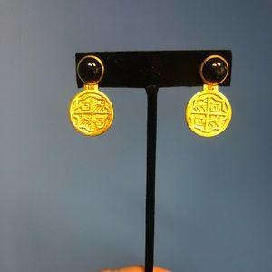 Julie Vos Valencia Coin Onyx Earrings *NWT*